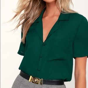 Lulus Dark Green Short Sleeve Button Up Top